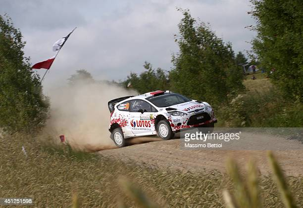 Robert Kubica of Poland and Maciej Szczepaniak of Poland compete in their RK MSport Ford Fiesta RS WRC during the Shakedown of the WRC Poland on June...