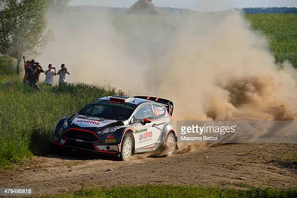 Robert Kubica of Poland and Maciej Szczepaniak of Poland compete in their RK WRT Ford Fiesta RS WRC during Day Two of the WRC Poland on July 4 2015...