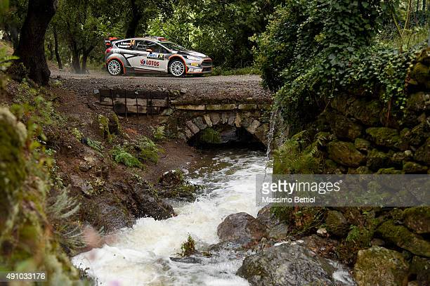 Robert Kubica of Poland and Maciej Szczepaniak of Poland compete intheir RK WRT Ford Fiesta RS WRC during Day One of the WRC France on October 2 2015...