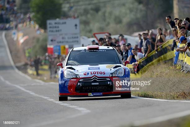 Robert Kubica of Poland and Maciek Baran of Poland compete in their Citroen DS3 RRC during Day Two of the WRC Spain on October 26 2013 in Salou Spain