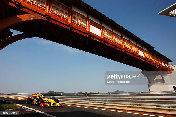 Robert Kubica of Poland and Renault drives during practice for the Korean Formula One Grand Prix at the Korea International Circuit on October 22...