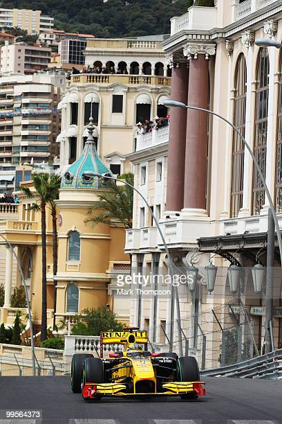 Robert Kubica of Poland and Renault drives on his way to setting the fastest time in the final practice session prior to qualifying for the Monaco...