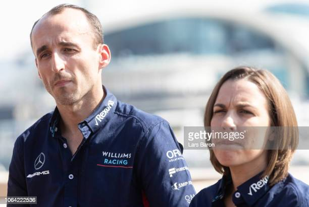 Robert Kubica of Poland and Williams and Williams Deputy Team Principal Claire Williams look on as Robert Kubica of Poland and Williams is announced...