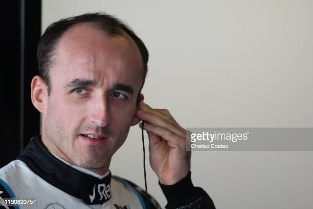 Robert Kubica of Poland and Williams prepares to drive in the garage during practice for the F1 Grand Prix of Abu Dhabi at Yas Marina Circuit on...