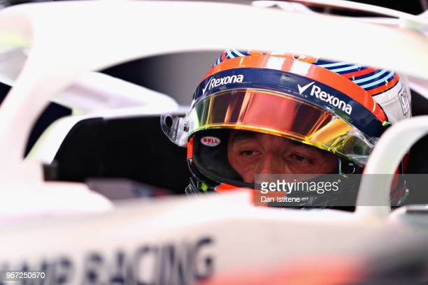 Robert Kubica of Poland and Williams prepares to drive in the garage during practice for the Spanish Formula One Grand Prix at Circuit de Catalunya...