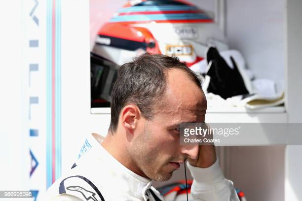 Robert Kubica of Poland and Williams prepares to drive in the garage during practice for the Formula One Grand Prix of Austria at Red Bull Ring on...