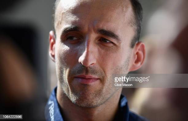 Robert Kubica of Poland and Williams talks to the media after being announced as a Williams F1 driver for the 2019 F1 season during previews ahead of...