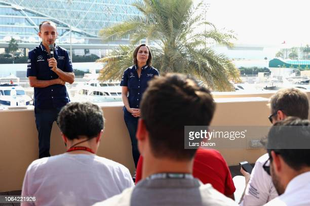 Robert Kubica of Poland and Williams talks Williams Deputy Team Principal Claire Williams looks on as Robert Kubica of Poland and Williams is...