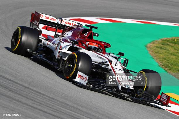 Robert Kubica of Poland driving the Alfa Romeo Racing C39 Ferrari on track during Day One of F1 Winter Testing at Circuit de BarcelonaCatalunya on...