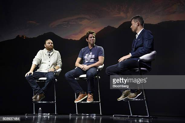 Robert Kynel chief business officer for YouTube Inc right speaks as Nick Woodman founder and chief executive officer of GoPro Inc center and Chris...
