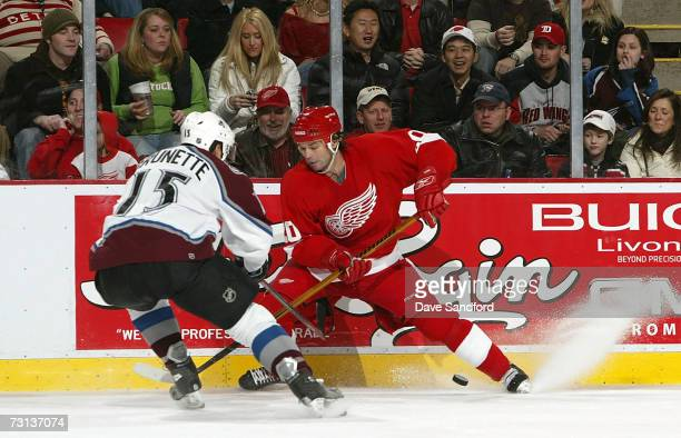 Robert Lang of the Detroit Red Wings battles for the puck with Andrew Burnette of the Colorado Avalanche on January 28 2007 at Joe Louis Arena in...