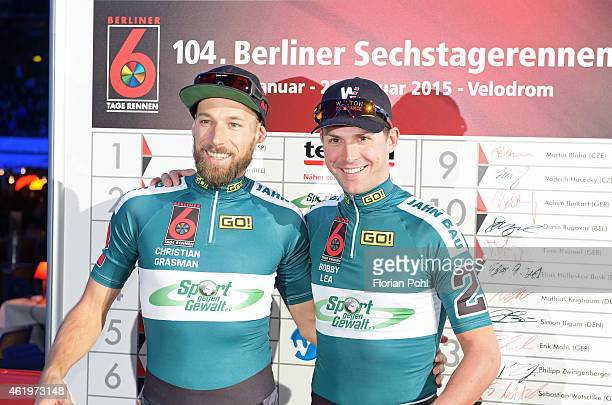 Robert Lea of Team 2 Jahn Talents Cup and Christian Grasmann of Team 2 Jahn Talents Cup during the Six Days Race on january 22 2015 in Berlin Germany