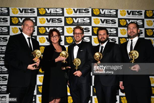 Robert Legato Joyce Cox Andrew R Jones Adam Valdez and JD Schwalm attend the 15th Annual Visual Effects Society Awards at The Beverly Hilton Hotel on...
