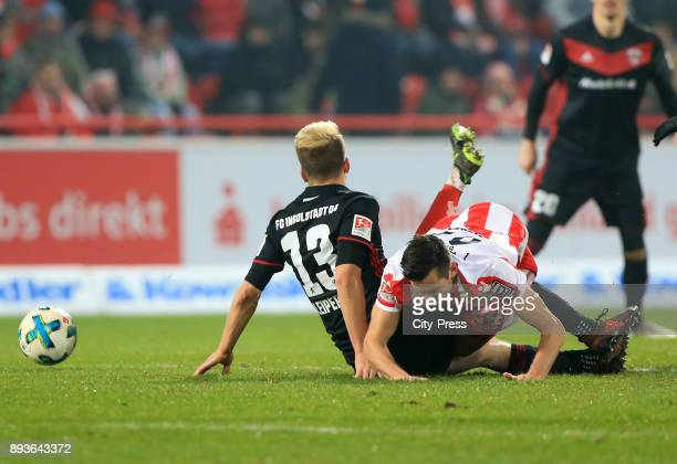 Robert Leipertz of FC Ingolstadt 04 and Steven Skrzybski of 1 FC Union Berlin during the game between Union Berlin and dem FC Ingolstadt 04 on...