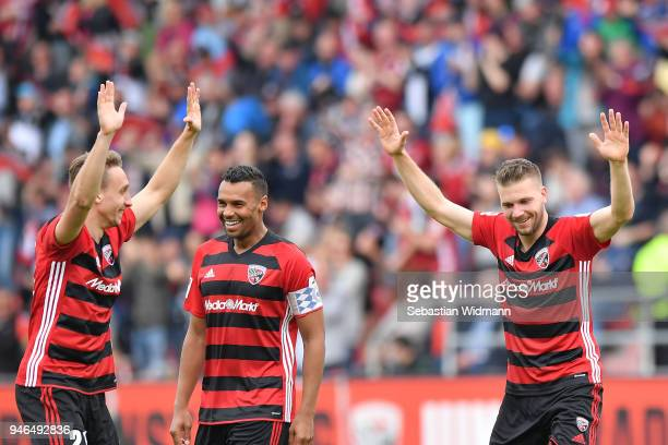 Robert Leipertz of Ingolstadt celebrates with teammates Tobias Schroeck and Marvin Matip after scoring his teams first goal during the Second...
