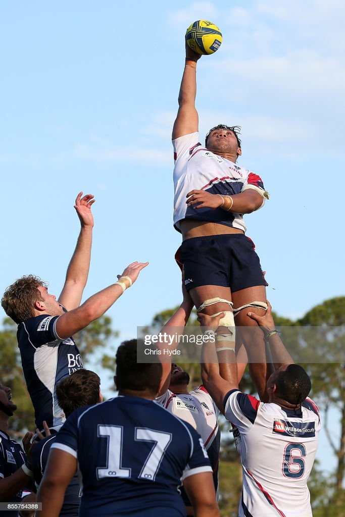 Robert Leota of Melbourne Rising takes the line out during the round five NRC match between Queensland Country and Melbourne at Bond University on September 30, 2017 in Brisbane, Australia.