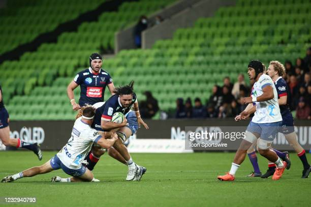 Robert Leota of the Melbourne Rebels gets tackled during round one of the Super Rugby Trans Tasman match between the Melbourne Rebels and Blues at...