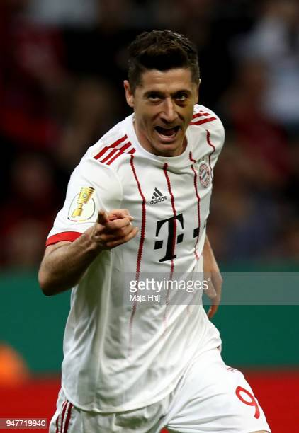 Robert Lewandiwski of Muenchen celebrates after he scores the 2nd goal during the DFB Cup semi final match between Bayer 04 Leverkusen and Bayern...
