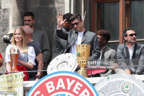 Robert Lewandoski during an event to celebrate FC Bayern Muenchen winning the Bundesliga and the German Cup at Marienplatz on May 26, 2019 in Munich,...