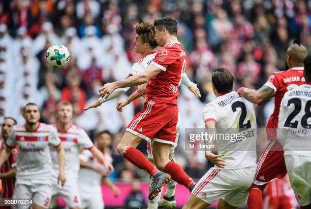 Robert Lewandowksi of FC Bayern Muenchen scores his team's second goal past during the Bundesliga match between FC Bayern Muenchen and Hamburger SV...