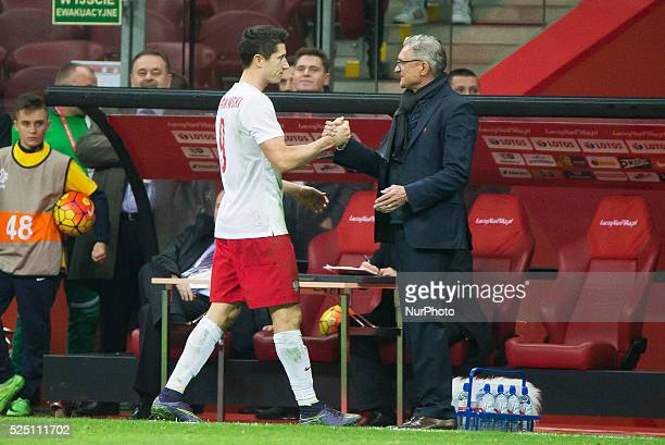 Robert Lewandowski and Adam Nawalka polish national team coach during the friendly match between Poland and Iceland at the National Stadium on...