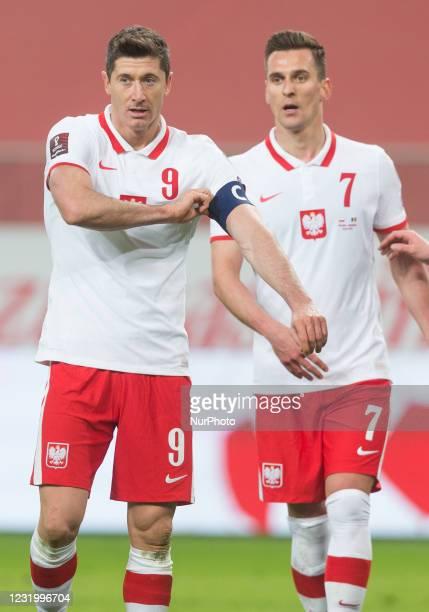 Robert Lewandowski and Arkadiusz Milik of Poland during the FIFA World Cup 2022 Qatar qualifying match between Poland and Andorra on March 28, 2021...
