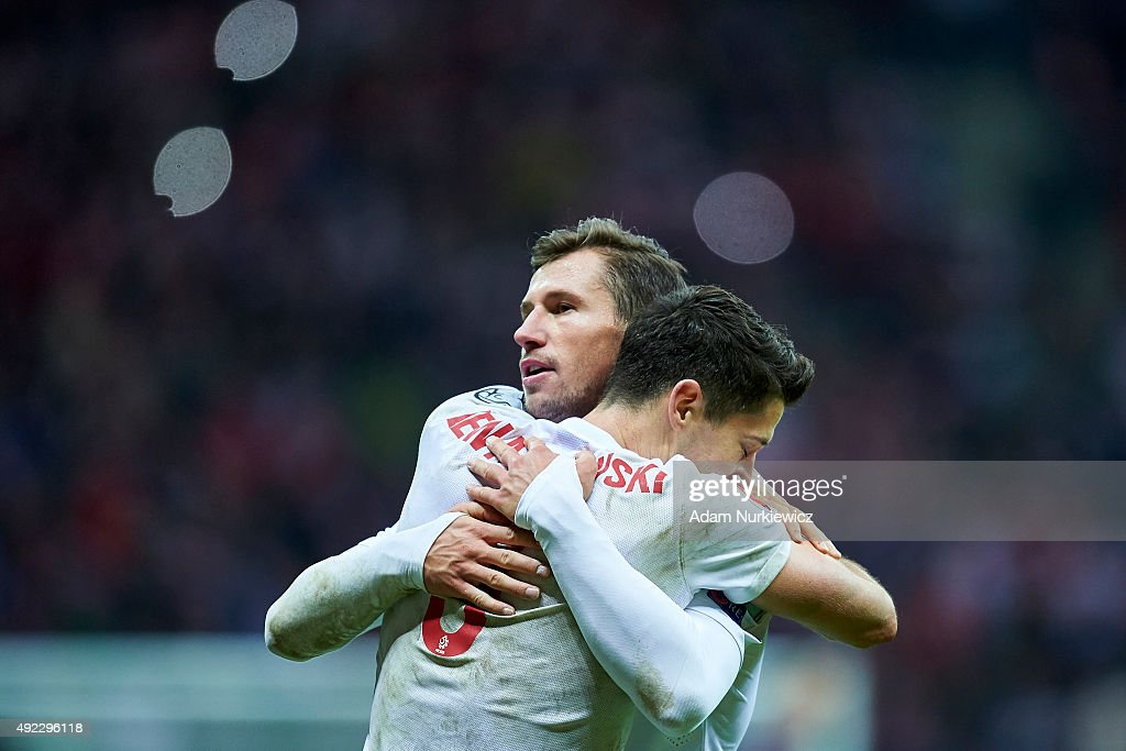 Robert Lewandowski and (L) Grzegorz Krychowiak both from Poland celebrate after the UEFA EURO 2016 qualifying match between Poland and Republic of Ireland at National Stadium on October 11, 2015 in Warsaw, Poland.