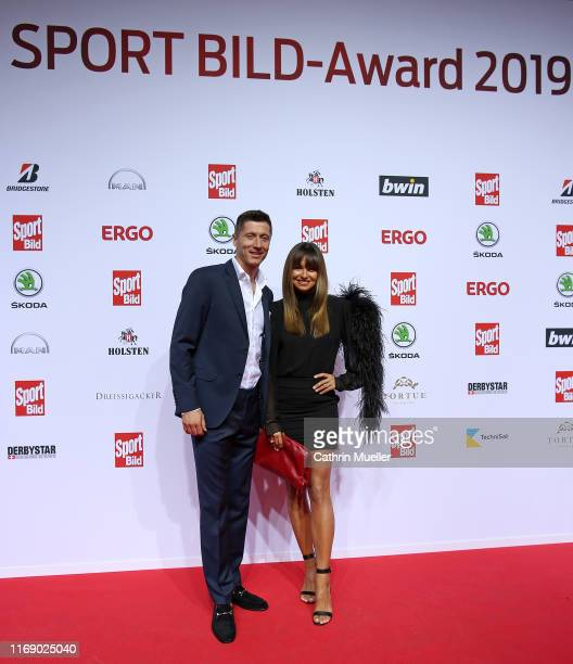 Robert Lewandowski and his wife Anna attend the Sport Bild Award 2019 at the Fischauktionshalle on August 19, 2019 in Hamburg, Germany.