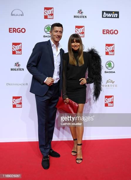 Robert Lewandowski and his wife Anna attend the Sport Bild Award 2019 at the Fischauktionshalle on August 19 2019 in Hamburg Germany