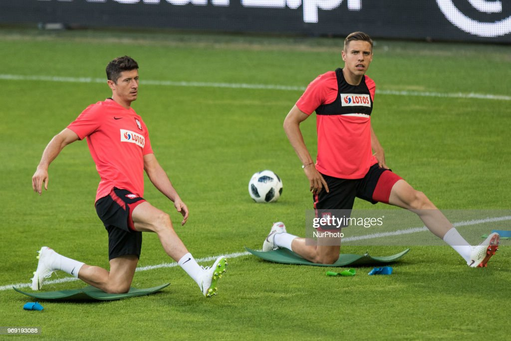 Robert Lewandowski and Jan Bednarek during training session before friendly match Poland and Chile in Poznan, Poland, on 7 June 2018.