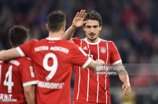 Robert Lewandowski and Mats Hummels of Bayern Munich celebrate a goal during the German Bundesliga soccer match between FC Bayern Munich and Borussia...