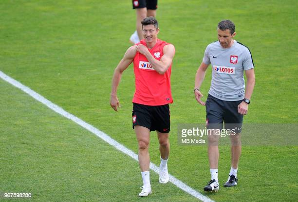 Robert Lewandowski and Remigiusz Rzepka of Poland during a training session of the Polish national team at Arlamow Hotel during the second phase of...