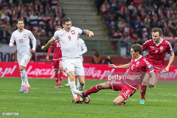 Robert Lewandowski Andreas Christensen during the 2018 FIFA World Cup qualification match between Poland and Denmark national football teams at...