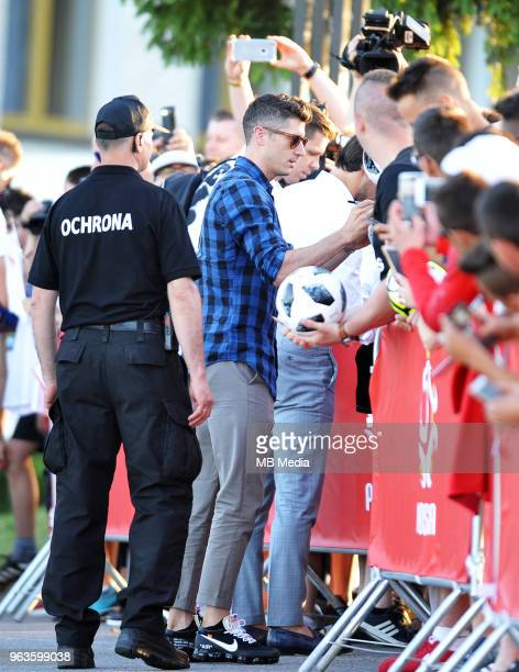 Robert Lewandowski arrives by helicopter at Arlamow Hotel for the second phase of preparation for the 2018 FIFA World Cup Russia on May 29 2018 in...