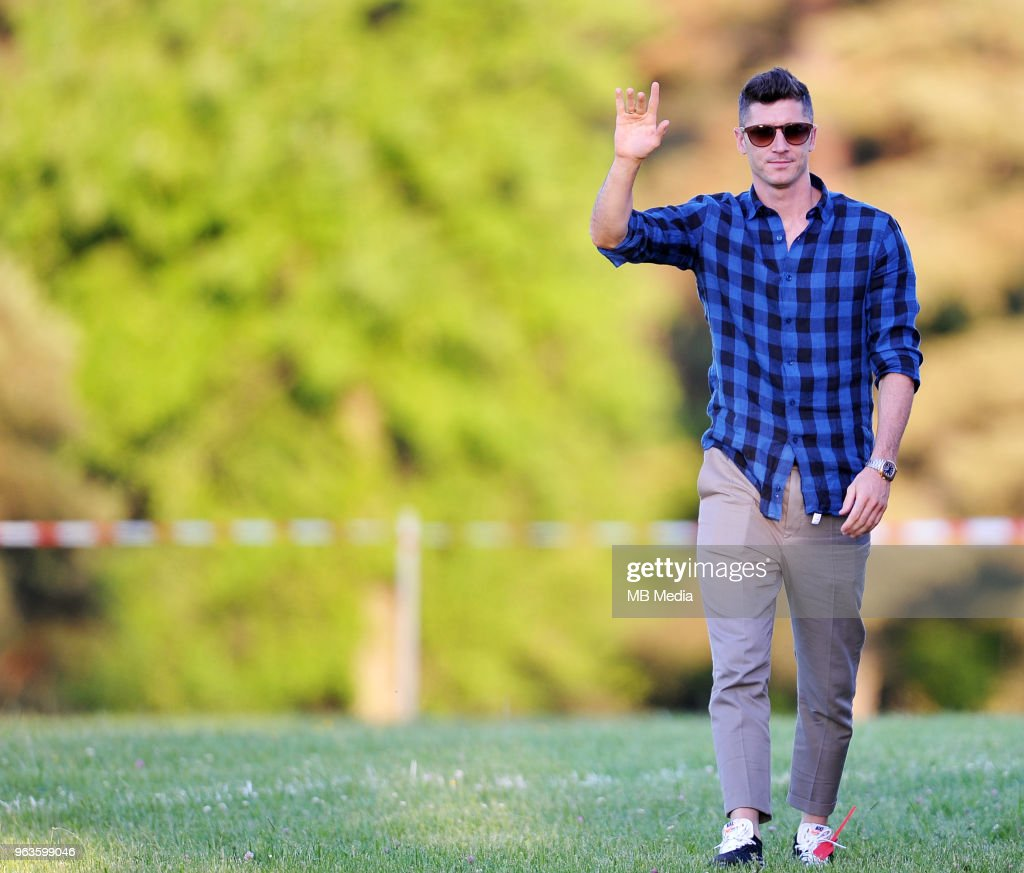 Robert Lewandowski arrives by helicopter at Arlamow Hotel for the second phase of preparation for the 2018 FIFA World Cup Russia on May 29, 2018 in Arlamow, Poland.