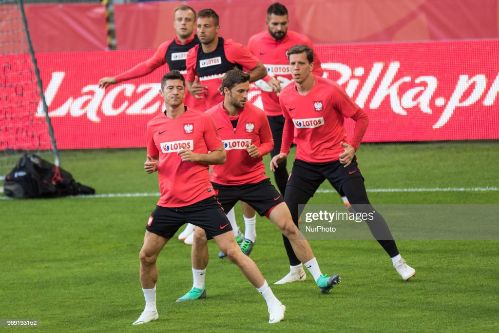 Robert Lewandowski, Bartosz Bereszynski, Wojciech Szczesny, Thiago Cionek, Kamil Grosicki, Bartosz Bialkowski during training session before friendly match Poland and Chile in Poznan, Poland, on 7 June 2018.