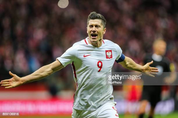 Robert Lewandowski celebrates a goal with during Poland and Montenegro World Cup 2018 qualifier match in Warsaw Poland on 8 October 2017 POLAND won...