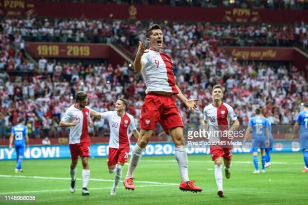 Robert Lewandowski celebrates scoring a goal during the 2020 UEFA European Championships group G qualifying match between Poland and Israel on June...