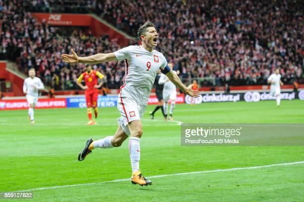 Robert Lewandowski celebration during the FIFA 2018 World Cup Qualifier between Poland and Montenegro on October 8 2017 in Warsaw Poland