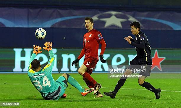 Robert Lewandowski chips Eduardo of Dinamo Zagreb to score the second Bayern Munich goal during the UEFA Champions League Group F match between GNK...
