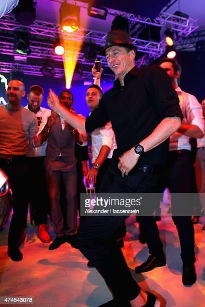 Robert Lewandowski dances during the FC Bayern Muenchen Bundesliga Champions Dinner at Postpalast on May 23 2015 in Munich Germany
