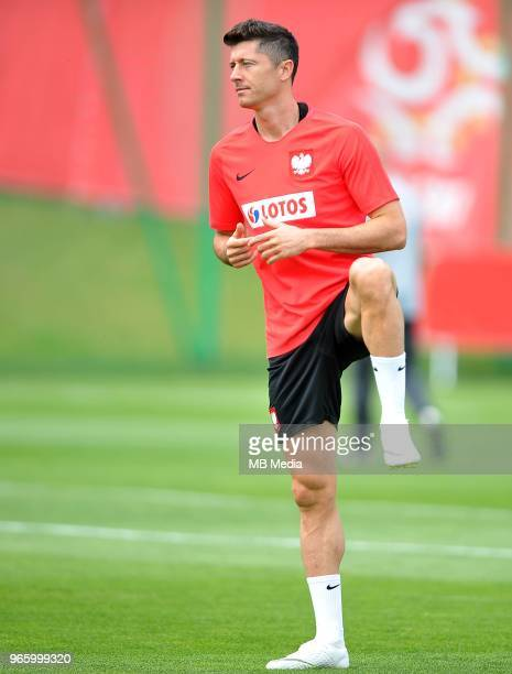 Robert Lewandowski during a training session of the Polish national team at Arlamow Hotel during the second phase of preparation for the 2018 FIFA...