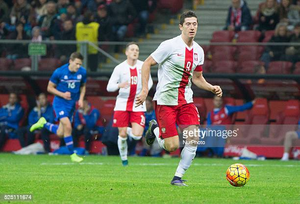 Robert Lewandowski during the friendly match between Poland and Iceland at the National Stadium on November 13 2015 in Warsaw Poland