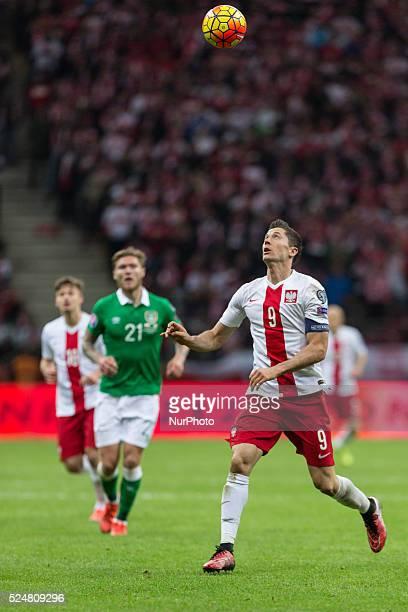Robert Lewandowski during the UEFA Euro 2016 Qualifying Round match between Poland and Ireland at the National Stadium on October 11 2015 in Warsaw...
