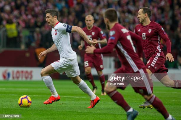 Robert Lewandowski during the UEFA Euro 2020 Group B qualification football match between Latvia and Poland in Warsaw on March 24, 2019.
