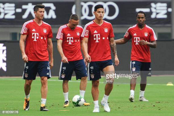 Robert Lewandowski Franck Ribery James Rodriguez and Renato Sanches of FC Bayern Muenchen in action during a training session ahead of 2017...