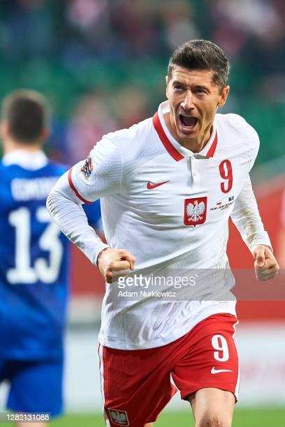 Robert Lewandowski from Poland celebrates after scoring during the UEFA Nations League group stage match between Poland and Bosnia-Herzegovina at...