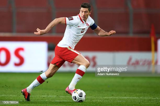 Robert Lewandowski from Poland controls the ball during the FIFA World Cup 2022 Qatar qualifying match between Poland and Andorra on March 28, 2021...