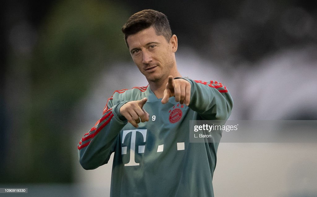 Robert Lewandowski gestures during a training session at day four ...