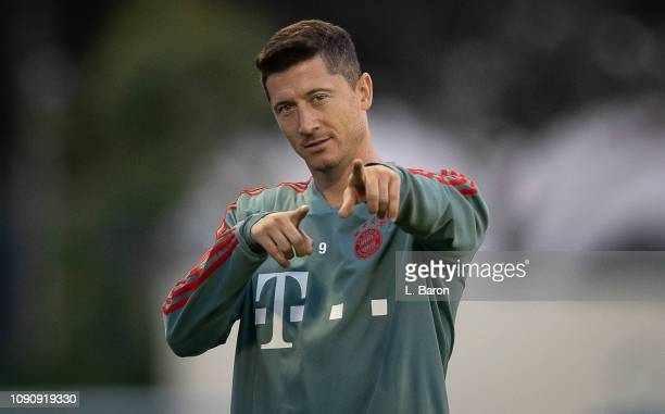 Robert Lewandowski gestures during a training session at day four of the Bayern Muenchen training camp at Aspire Academy on January 07 2019 in Doha...